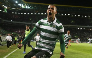 Sporting's player Slimani celebrates after score the second goal against Benfica during the Portugal's Cup fourth round between Sporting CP and SL Benfica held at Alvalade stadium in Lisbon, Portugal, 21 November 2015. MARIO CRUZ/LUSA